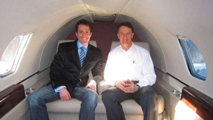 Richard Worthington with Nathan Ricks on his private jet